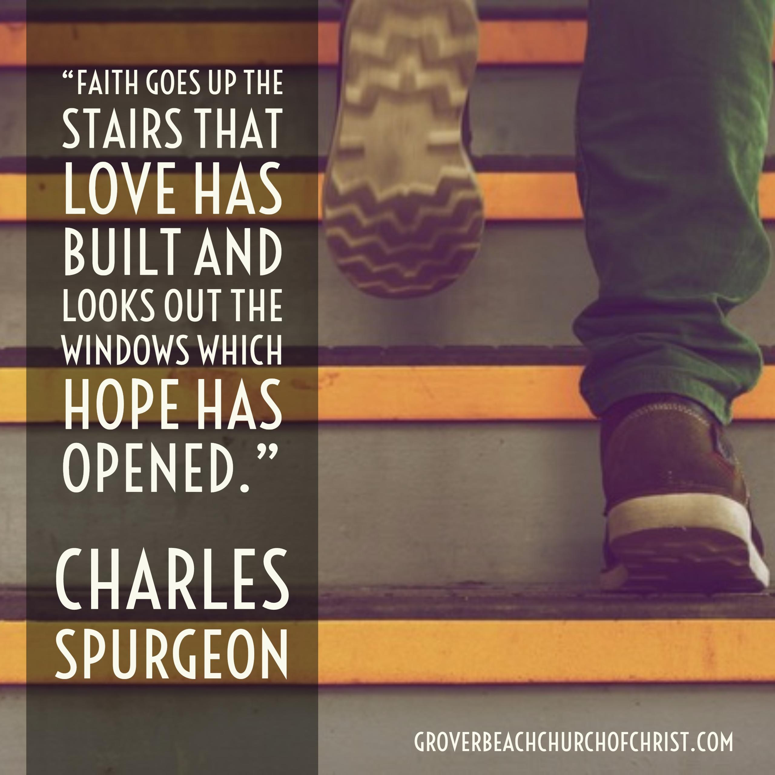 Spurgeon Faith goes up the stairs